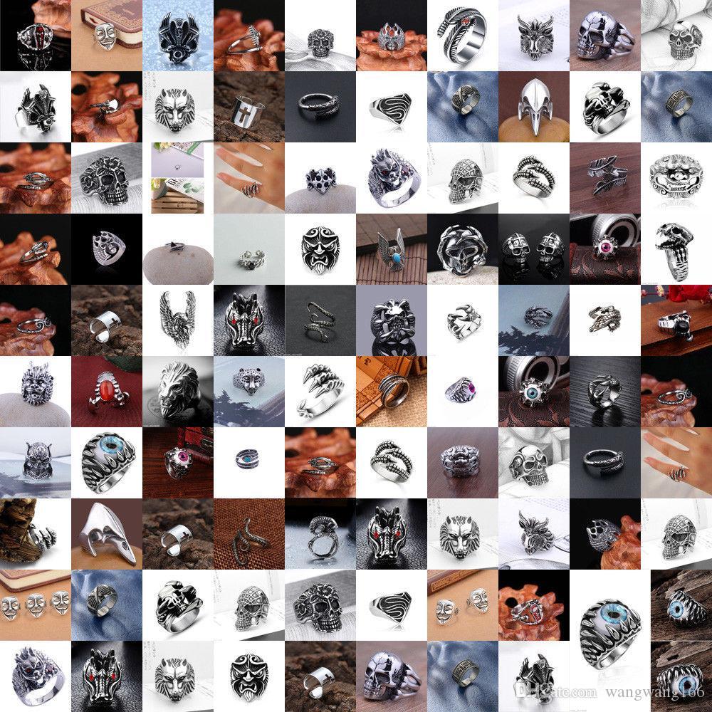 Moda erkek Paslanmaz Çelik Gümüş Gotik Punk Charm Biker Parmak Yüzük Hediye Klasikleri Açık Ayarlanabilir Yüzükler