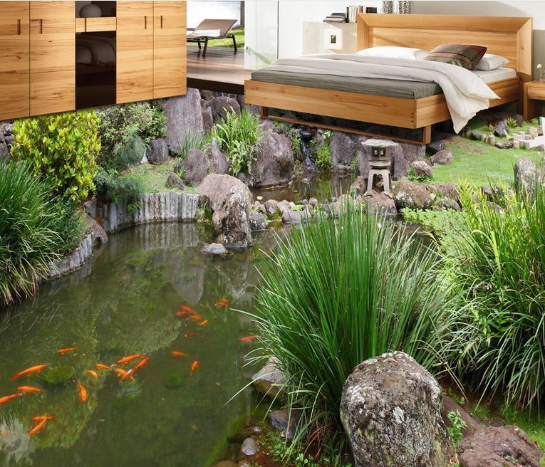 욕실 Rockery 물 잔디 꽃 벽지는 방 침실 바닥이 3D 자연 벽지 그린 생활 3D