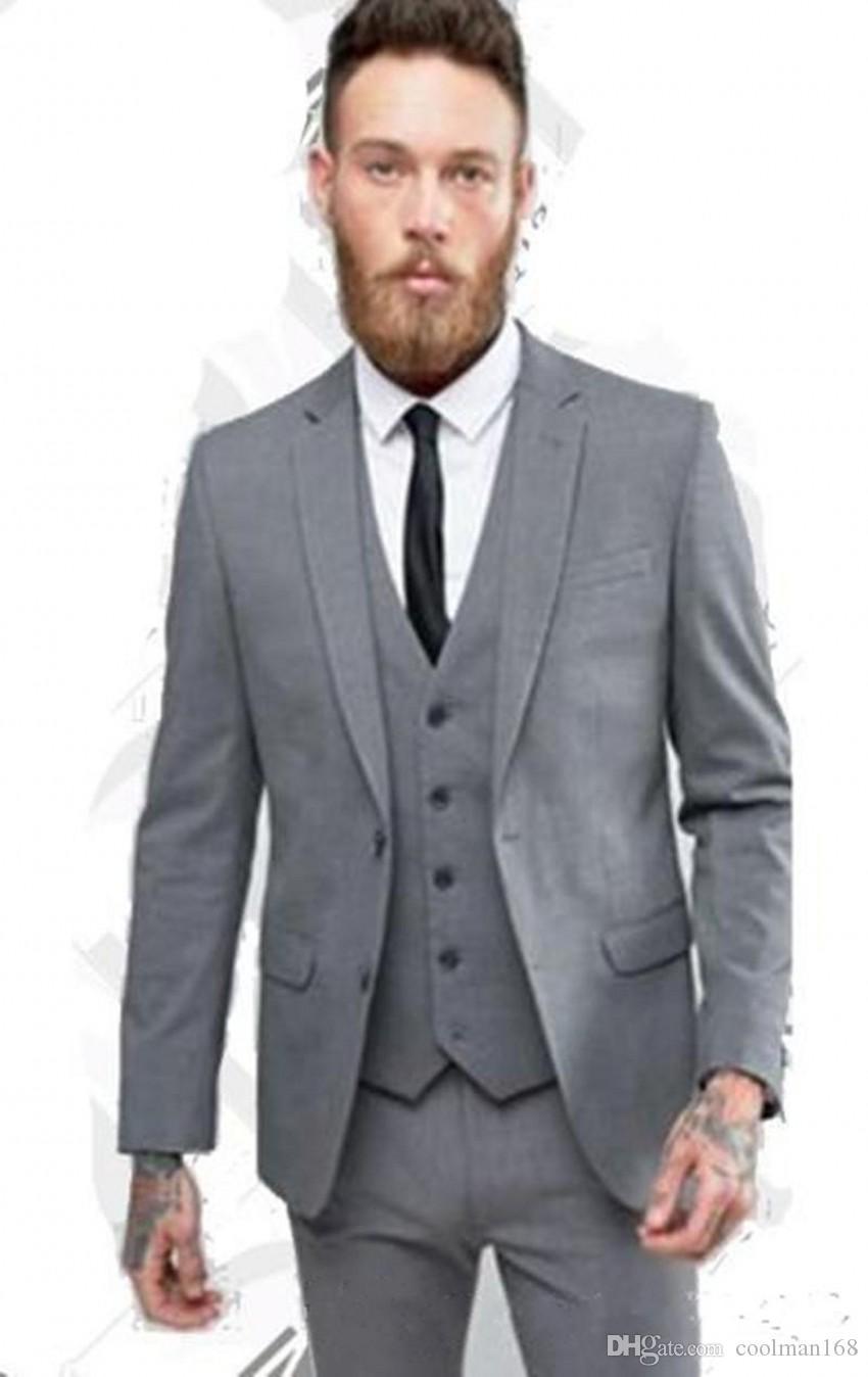 Novo Design Cinza Noivo Smoking Notch Lapela Dois Botões Padrinhos de Casamento Dos Homens Vestido de Excelente Homem 3 Peça Terno (Jaqueta + Calça + colete + Gravata) 467