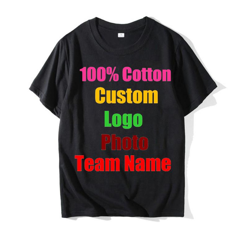 2018 Unisexe Logo Personnalisé Imprimé Personnalisé Hommes T Chemises Personnalisé Couleur Unie Texte Impression Photo Vêtements Publicité T-shirt C19041702