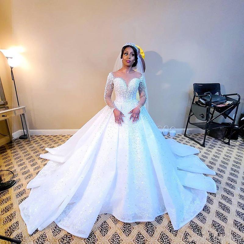 2020 Plus Size arabo Aso Ebi Sparkly di lusso sexy abiti da sposa perle cristalli Pizzo Abiti da sposa pura del collo abiti di nozze