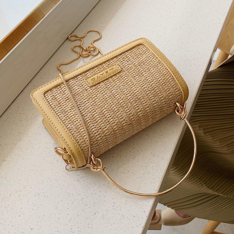Femminile elegante borsa da viaggio Tote 2019 di estate nuova qualità paglia delle donne Designer Handbag catena della spalla Messenger Bag Borse Mujer