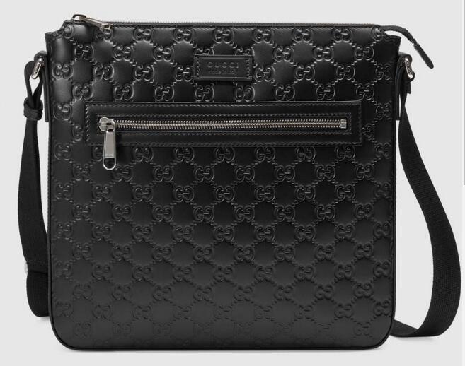 Signature leather messenger 406408 Men Messenger Bags Shoulder Belt Bag Totes Portfolio Briefcases Duffle Luggage