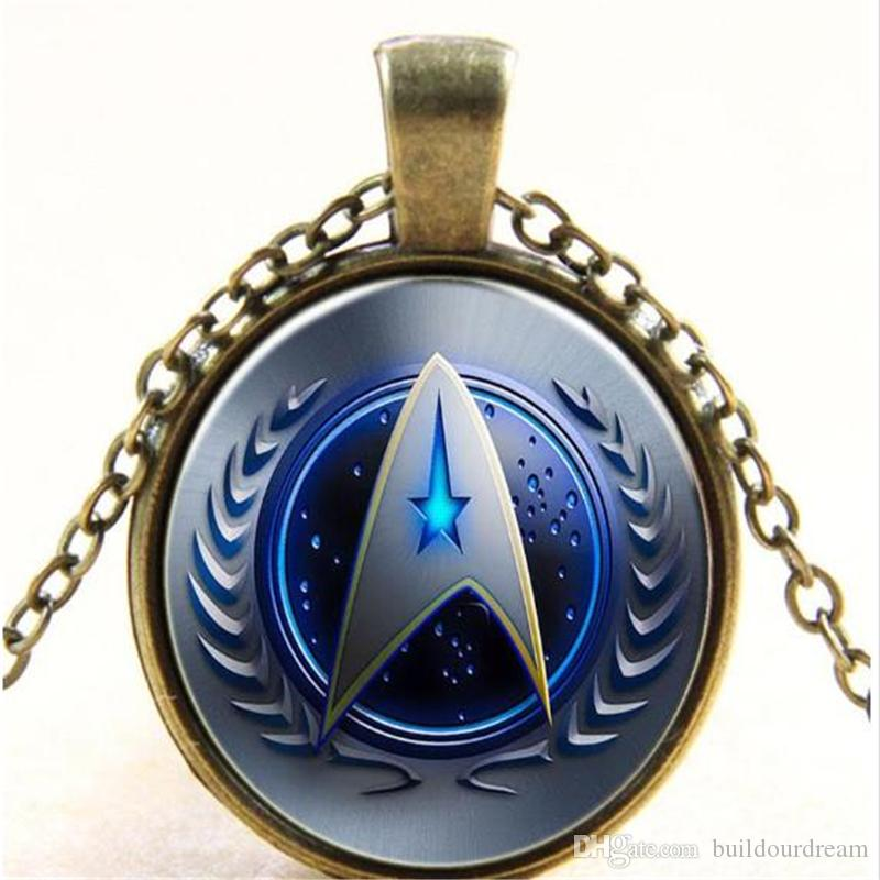 Wholesale Glass Dome Cabochon 25mm Star Trek Necklace Glass Cabochon Dome Pendant Retro necklace jewelry free shipping 200310ayq