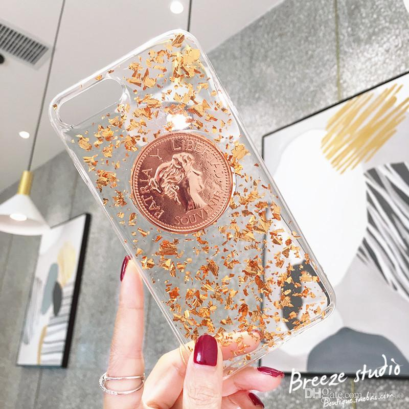 Mytoto 2018 New Retro gold coins For iPhone X XS MAX XR 8Plus phone case 7plus soft shell 6s 6plus female models tide