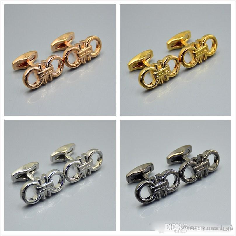 di alta qualità nero - argento - oro - oro rosa farfalla forma della camicia dei gemelli degli uomini di gioielli di lusso Gemelli per regalo di nozze