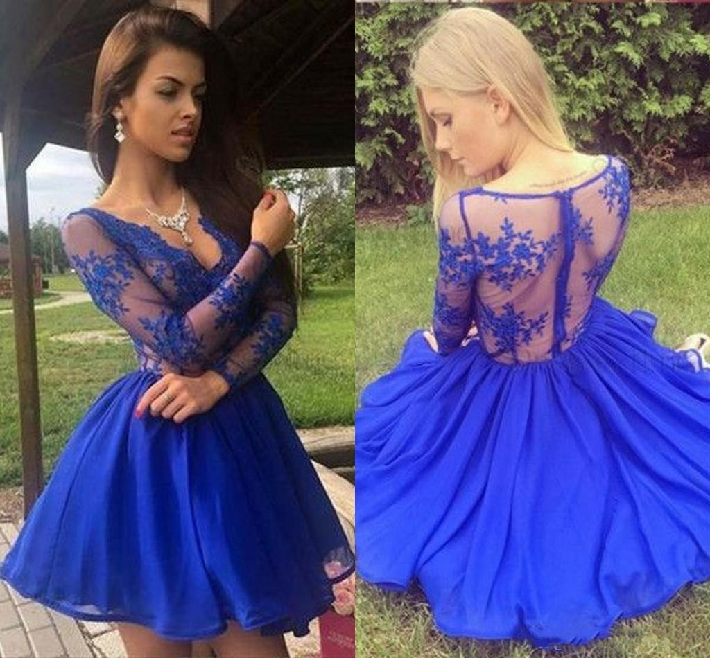 2020 Party Dresses Homecoming Dress Cheap with Long Sleeves Piping Lace V-neck Graduation Party Cocktail Dress
