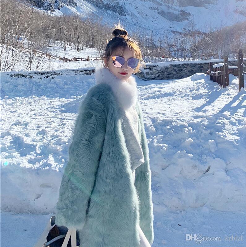 Popolare di buona qualità Verde visone panno pelliccia metà autunno inverno delle donne lunghe comodo allentato sopra il ginocchio in pelliccia un pezzo cappotto elegante