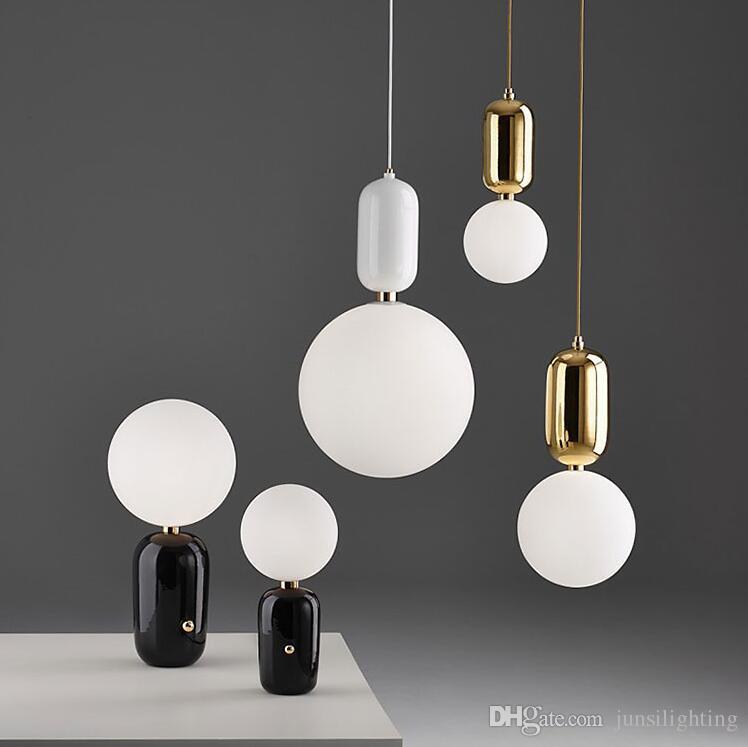 Nordic creative post-modern restaurant pendant lamp bedroom children's room bar single glass ball pendant lights gold white