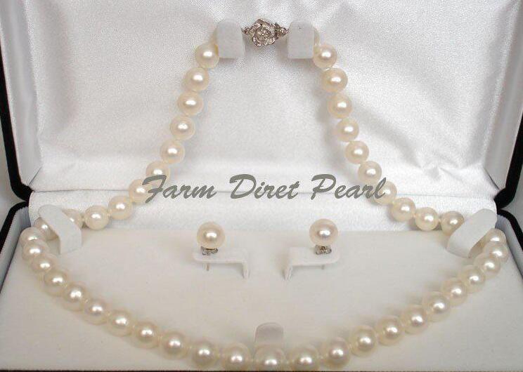 """Ensemble de collier de perles blanches de 9-10mm véritable de 9-10mm de 18 """"925 argent"""