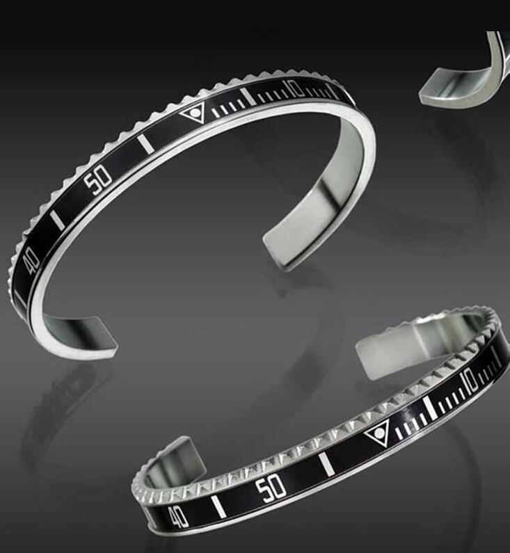 Luxury Fashion Watches Scale C Cuff Bangle Stainless Steel Bangle Mens Jewelry Party Designer Digital Bracelets Bangle for Women Men Bijoux