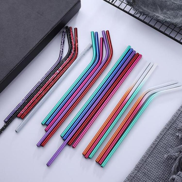 6 * 215 milímetros Aço Inox 304 Bent palha / Hetero reutilizável Ombre colorido Palhinha Cleaner palhas metal Straw escova Bar Beber Ferramenta