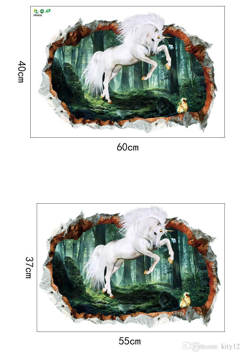 Stickers Pour Fenetre Chambre acheter 3d animal licorne stickers muraux effet de fenêtre sticker pour  bébé enfants chambre chambre décoration de la maison de $2.52 du kity12 |