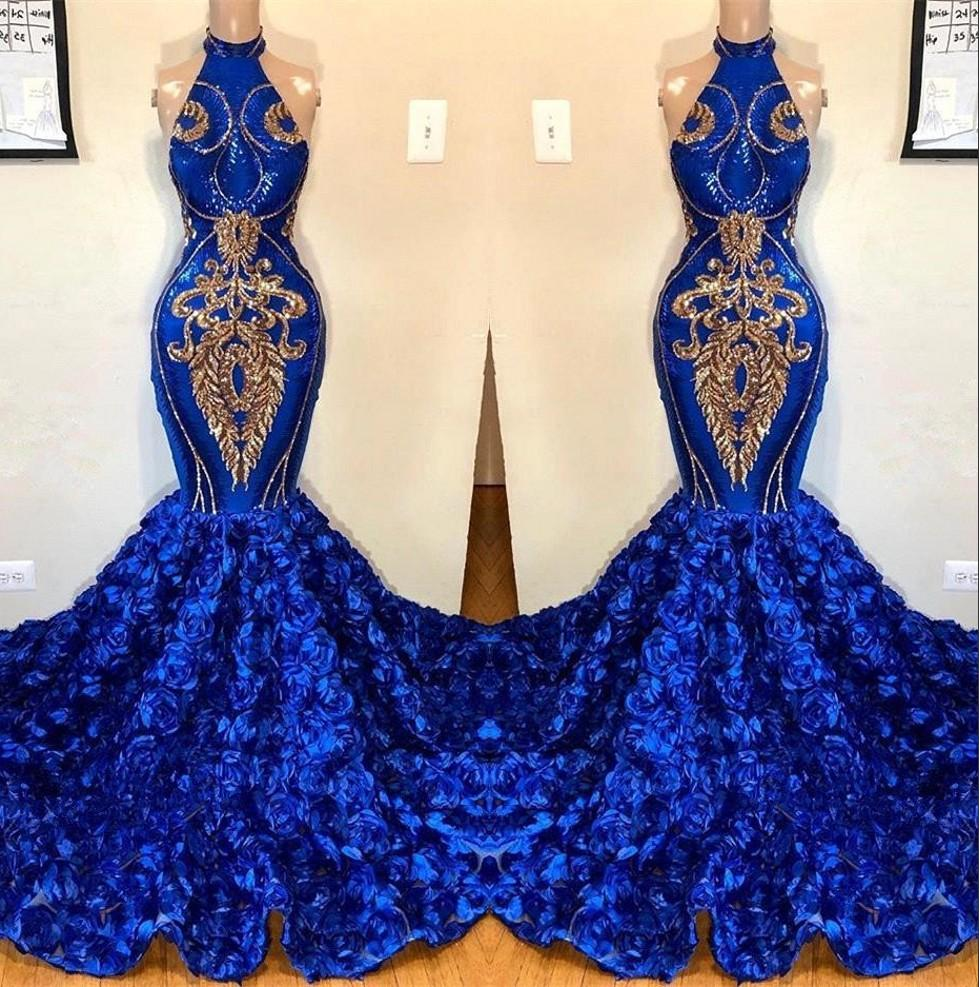 Royal Blue Mermaid Prom Dresses 2019 Halter Lace Appliqued Gorgeous 3D Floral Skirt Prom Party Evening Gowns For Black Girls BC1213