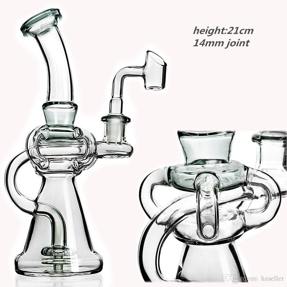 8.3 Inchs Big Bong Klein Recycler Oil Rigs beaker Base Bong Smoking Glass Water Pipes Unqiue bong With 14mm Banger
