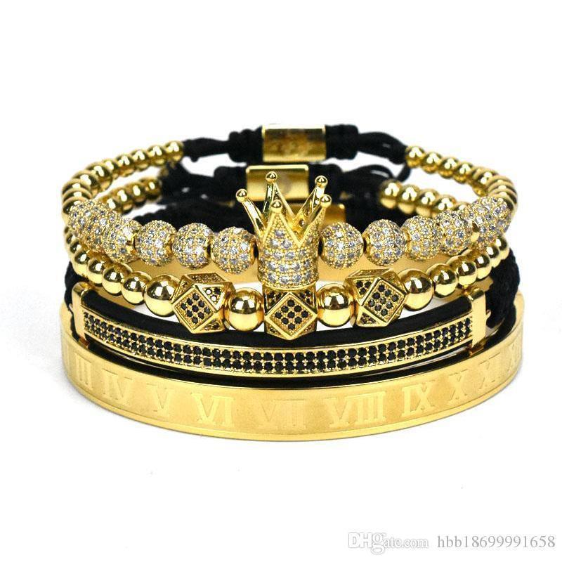4pcs fija clásica hecha a mano Hip Hop del trenzado pulsera de oro de los hombres de la CZ circón corona pulsera número romano joyería de lujo