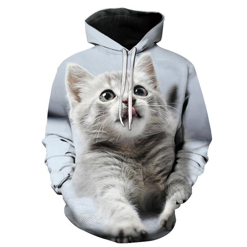 Compre Dibujo Animado Del Kawaii Sudaderas 3d Gato Impreso