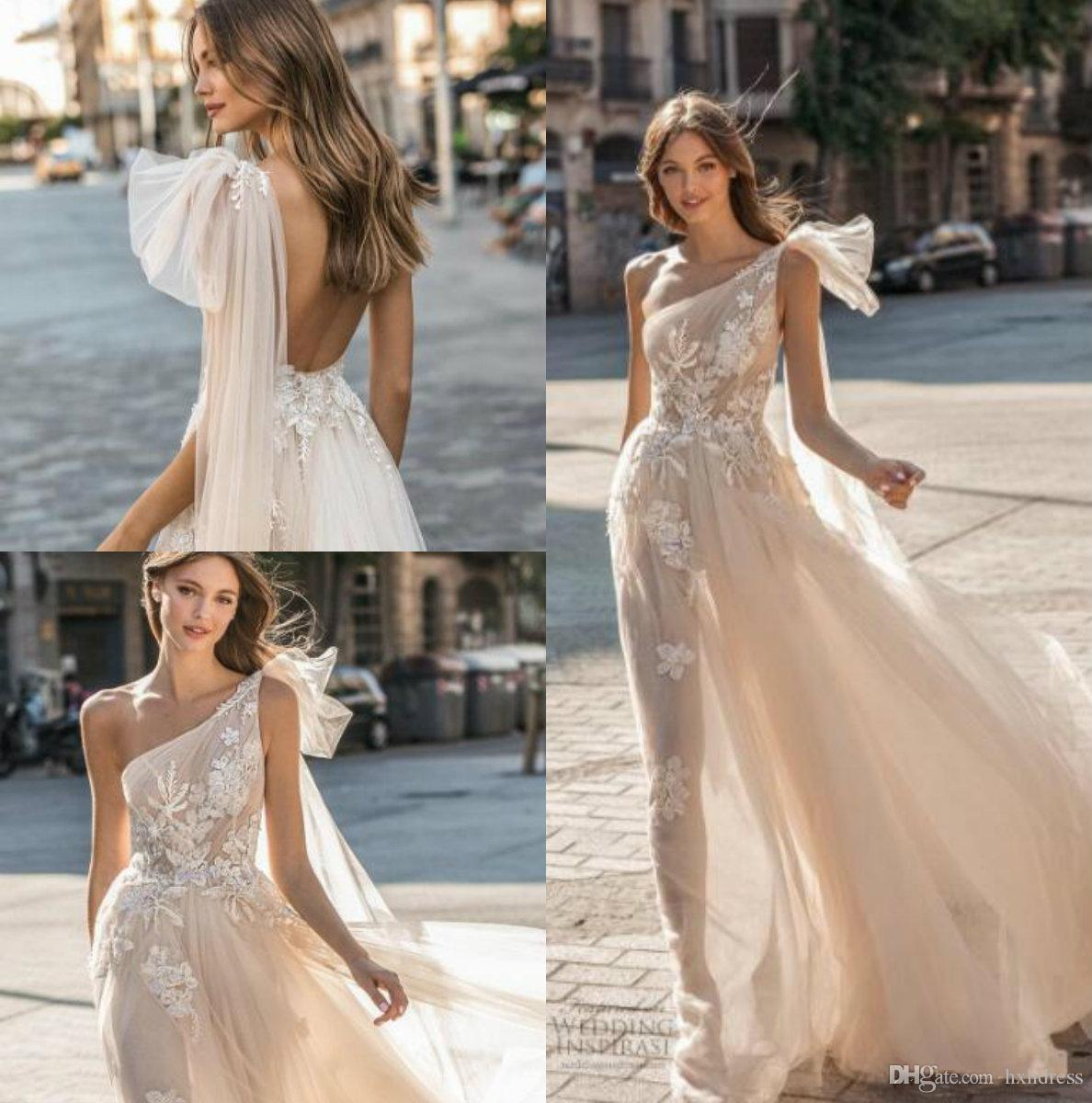 2019 New Muse by Berta Wedding Dresses One Shoulder Backless Bridal Gown Appliqued A Line Beach Boho Simple See Through Wedding Dress
