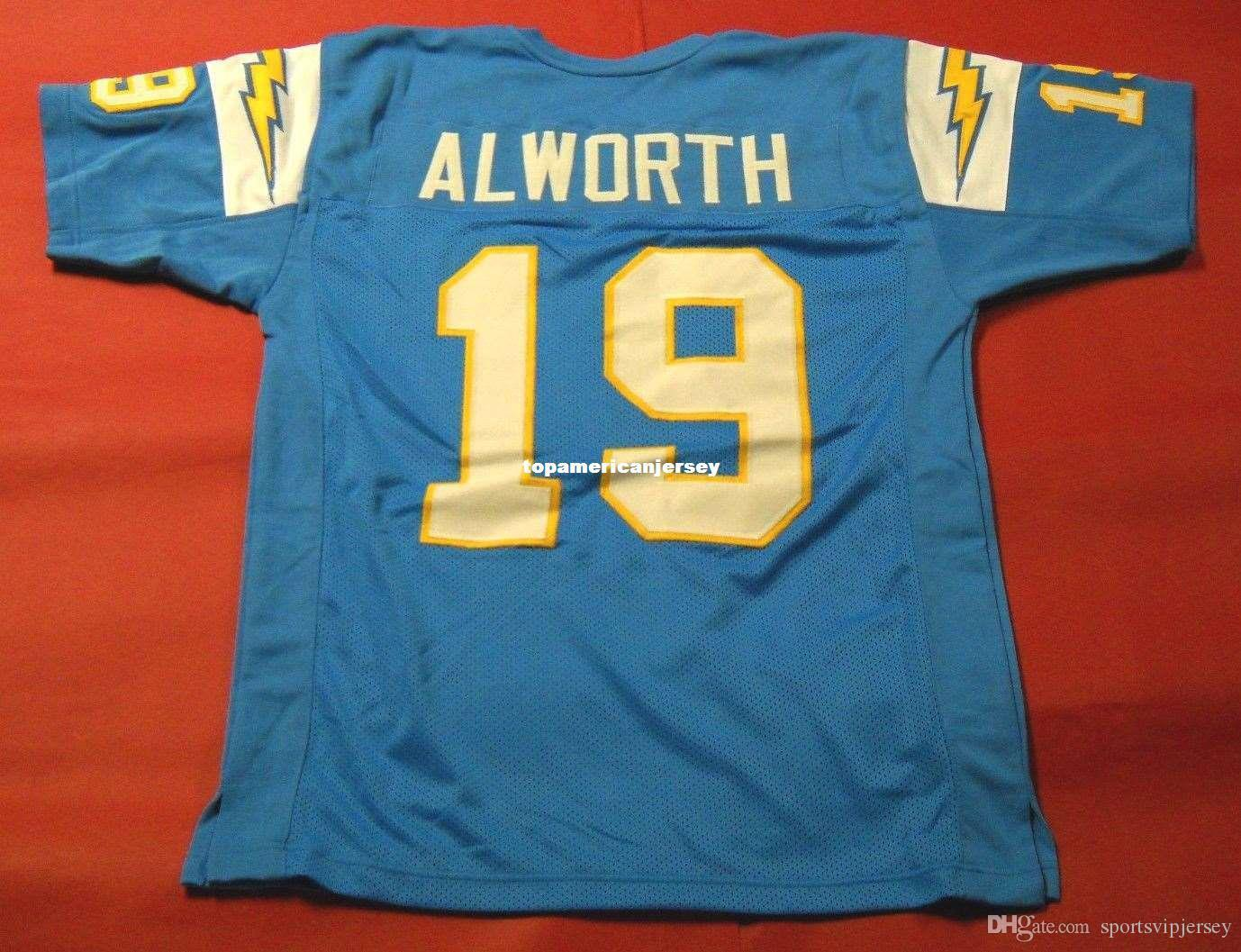 Günstige Retro # 19 Lance Alworth CUSTOM Top S-5XL, 6XL MITCHELL NESS Jersey Bule Herren Stitching Top S-5XL, 6XL Fußballjerseys Lauf