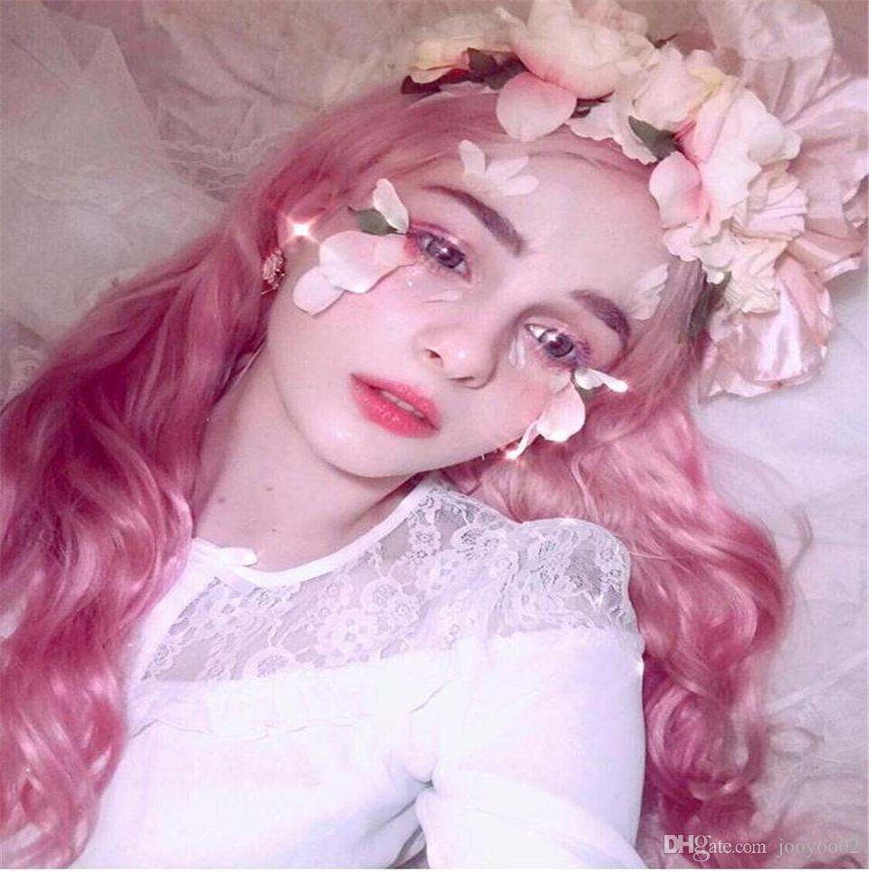 28 pulgadas venta caliente de alta temperatura de seda de moda realista nueva moda largo rizado rosa fibra química conjunto peluca