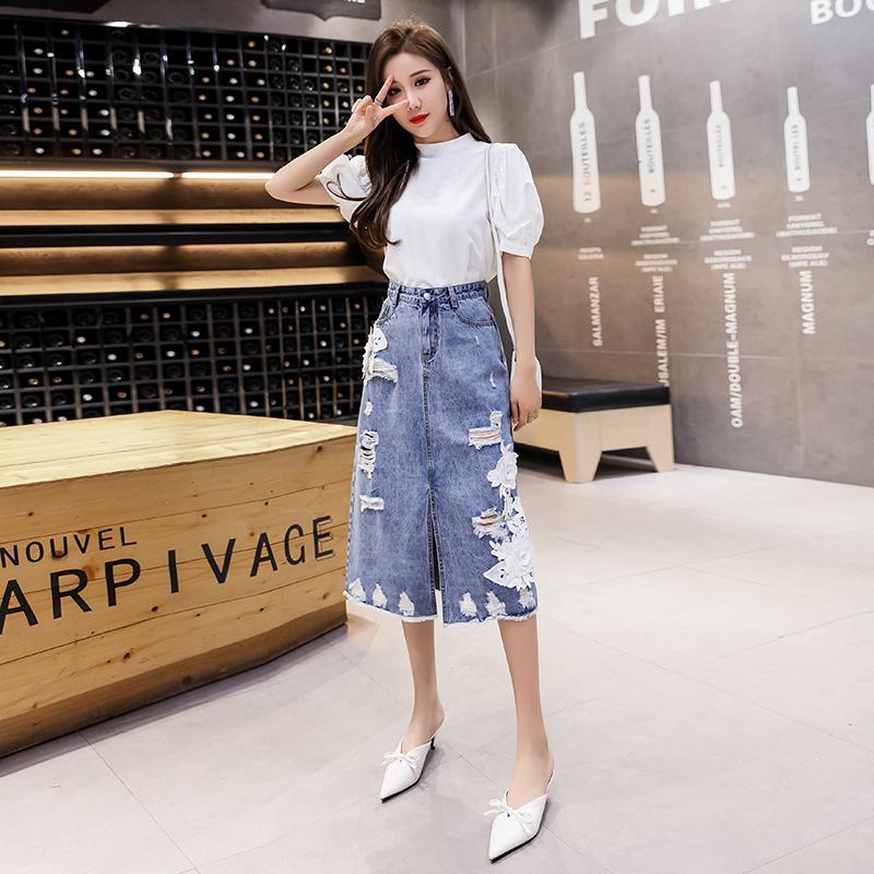 Elegante Vintage vita alta Corea Appliques Gonna delle donne delle signore jeans di estate Gonne Tasche era sottile foro Split pannello esterno del denim