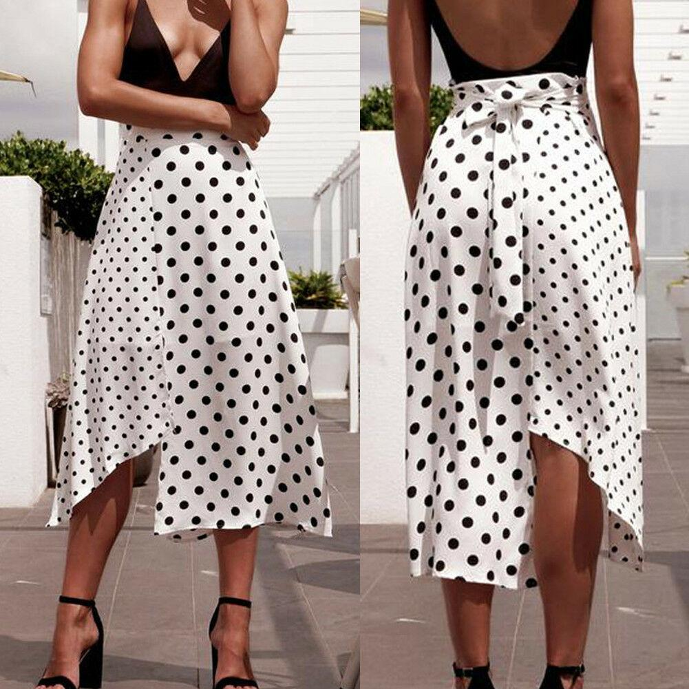 Women Polka Dot Split Skirt Ladies High Waist Summer Holiday Beach Midi Asymmetrical Lace Up Skirts