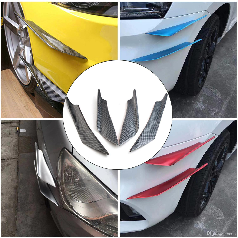 Universal Coche Bumper Splitter Aletas Auto Modificación Viento Spoiler Air Cuchillo de Aire Decoración Protector 4pcs Color de la fibra de carbono