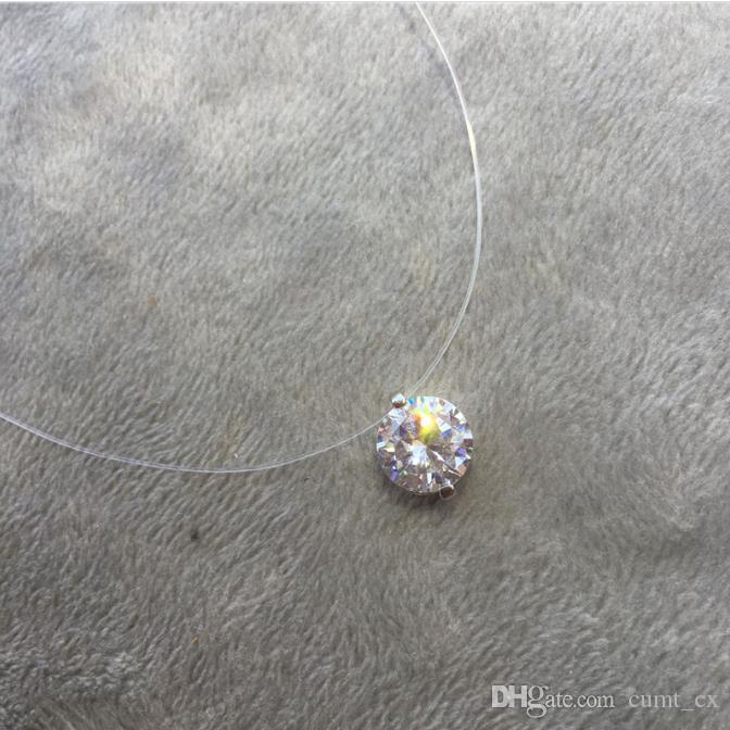 Colar de cristal gargantilha Invisible Peixe Linha Pendentes Neck Zircon Mulheres Clavícula Cadeia Lady Feminino Collar