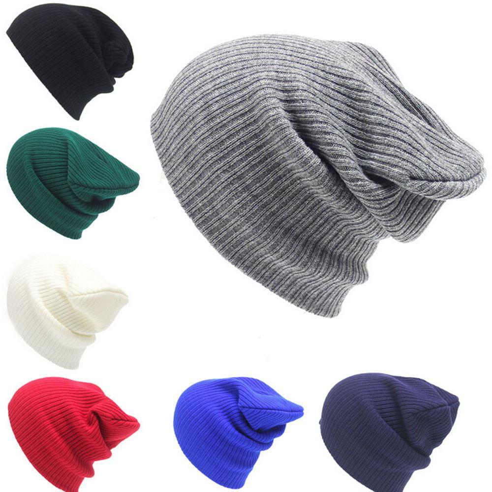 De punto de lana Cap otoño invierno Mezclas caliente suave ocasional de los hombres de las mujeres Beanie Cap de esquí de punto Hip-Hop unisex invierno cálido sombrero de las lanas