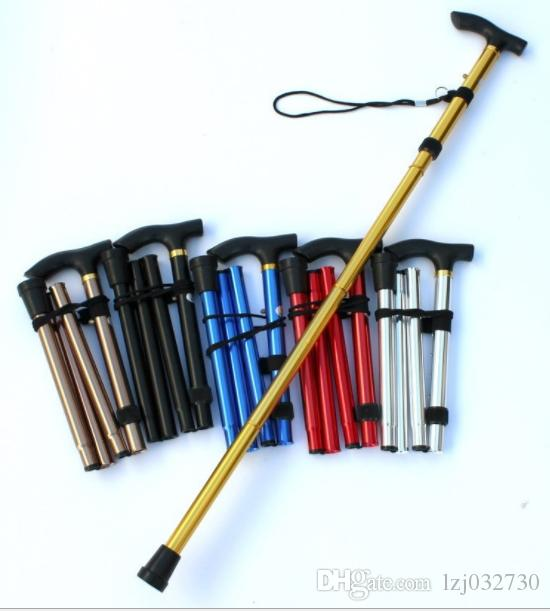 Wholesale foldable crutches, mountaineering sticks, portable super light old people's antiskid crutches, straight handle of crutches A1002