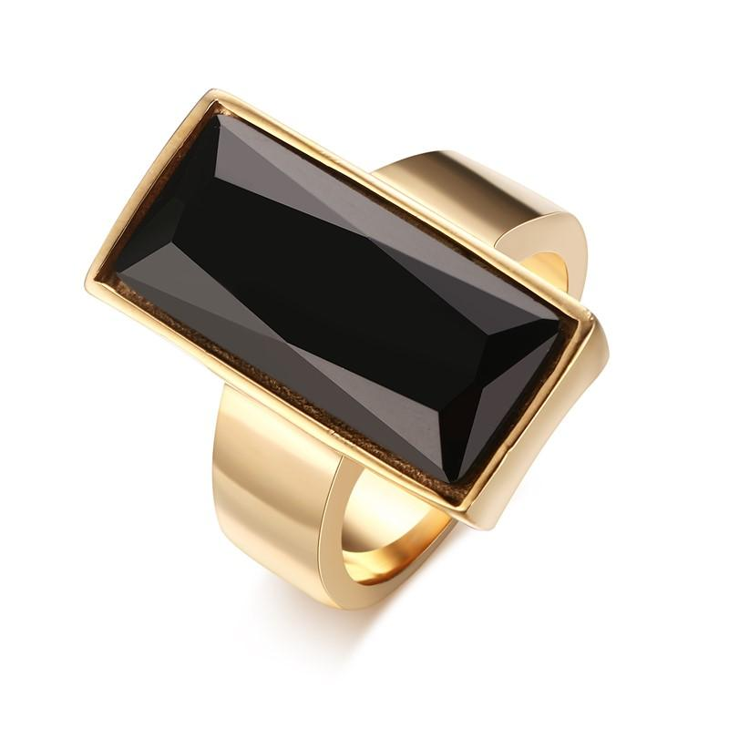 Womens Rings Stainless Steel Gold-color Rectangular Black Glass Crystal Ring for Women Fashion Jewelry,Best Friend Gift