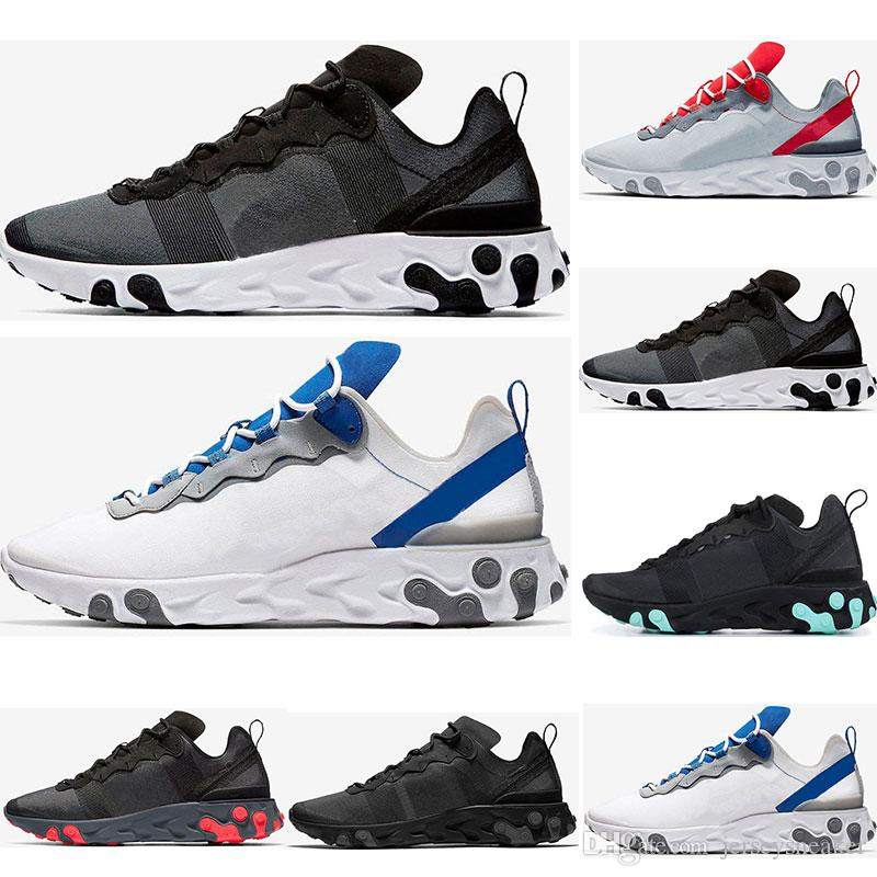 2019 reaksiyon elemanı erkekler için 55 koşu ayakkabıları bayan Yeşim Güneş Kırmızı üçlü siyah beyaz Kraliyet Kırmızı spor sneakers ayakkabı boyutu 36-45