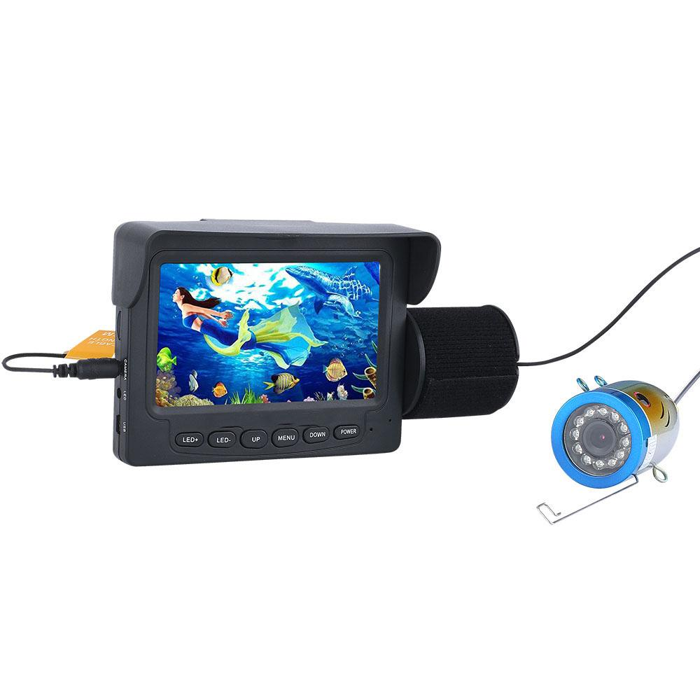 PDDHKK 4.3inch TFT Color Monitor Underwater Fishing Video Camera 12 PCS LED white Lights Fish Finder Camera for Lake Waterproof