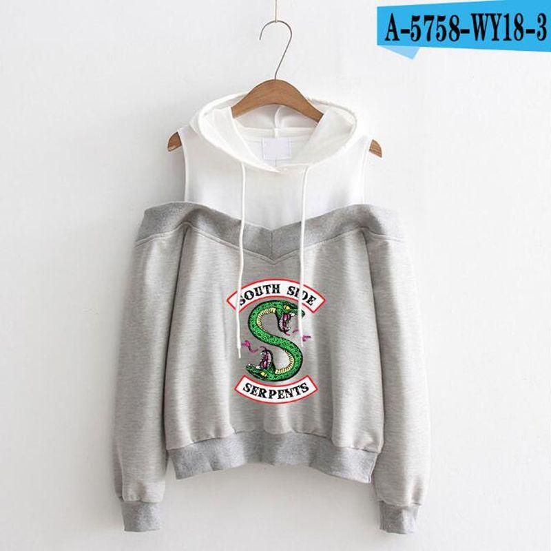 Großhandel Riverdale Kapuzenpullover Damen Southside Serpents Printed Langarm Schulterfrei Hip Hop Pink Hoodie Pullover Streetwear Von Zhouzhaoyu,