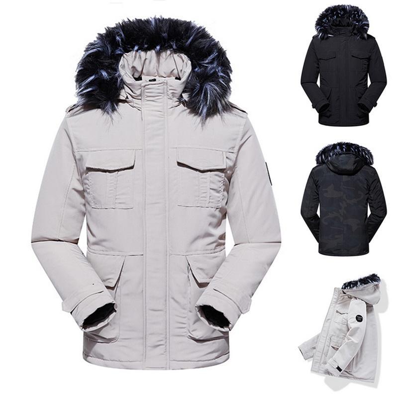 Hooded Outwear Winter Men/'s Cotton Thicken Warm Padded Faux Fur Jacket Parka