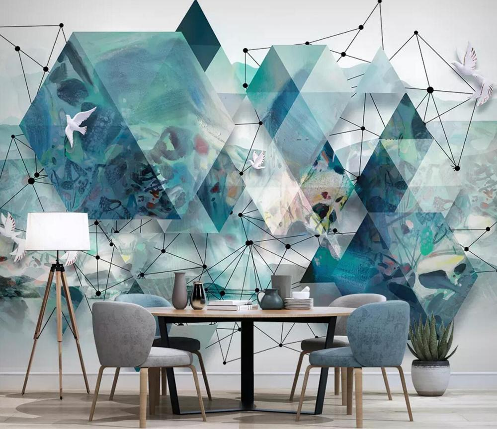 [Selbstklebend] 3D Blue Polygon 1993303 Wood Plank Texture 128 Fototapete Wall Print Decal Murals