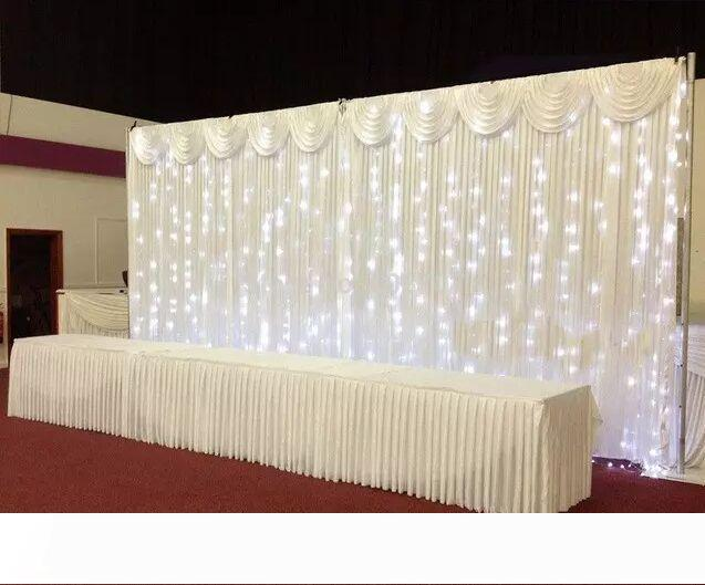 Pipe and Drape 3*6M Wedding Backdrop Wedding Curtain Backdrop Wedding Drape with LED light With Stainess Steel Backdrop Stand