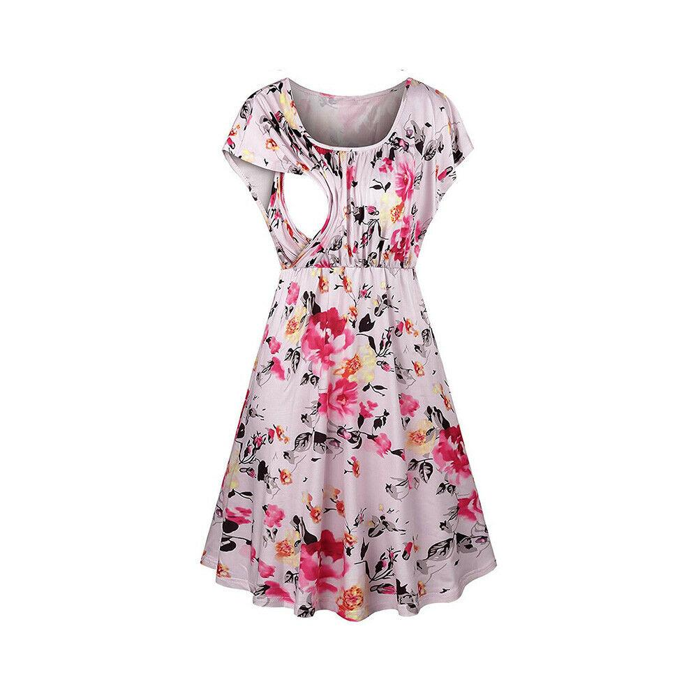 Hot Maternity Dresses Floral Solid Short Sleeve Ruffles O-Neck Summer Fashion Nursing Breastfeeding Clothes For Pregnant Women