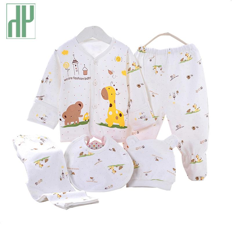 5pcs Baby Girl Clothes 0-3m Spring Summer Print Cartoon Newborn Clothing Gift Set Cotton New Born Baby Boy Clothes Baby Outfit J190521