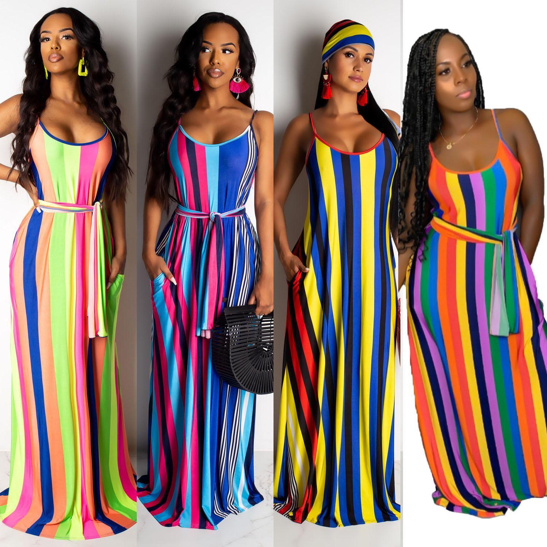 Cor Elegante Listra Impressão Vestido Solto Mulheres Vestidos Longos Verão 2019 Vestido Boho Sundress Feminino 2XL Cinta De Espaguete