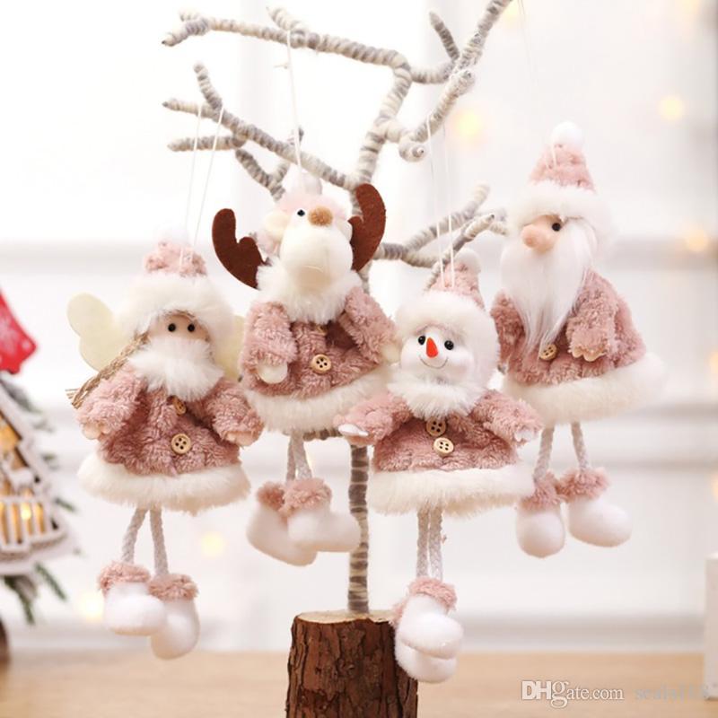 Рождественская елка украшения кулон Санта Клаус Снеговик плюшевая кукла лось олень висит украшения Рождество домашнего декора 4 стиля HH9-2482