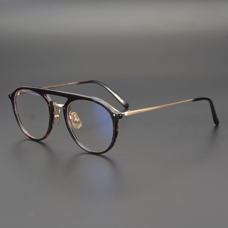 عالية الجودة مزدوجة شعاع طيار نظارات إطارات خلات التيتانيوم الرجال النساء البصرية موضة نظارات الحاسوب مضاد للأزرق فاتح اضافة وصفة طبية