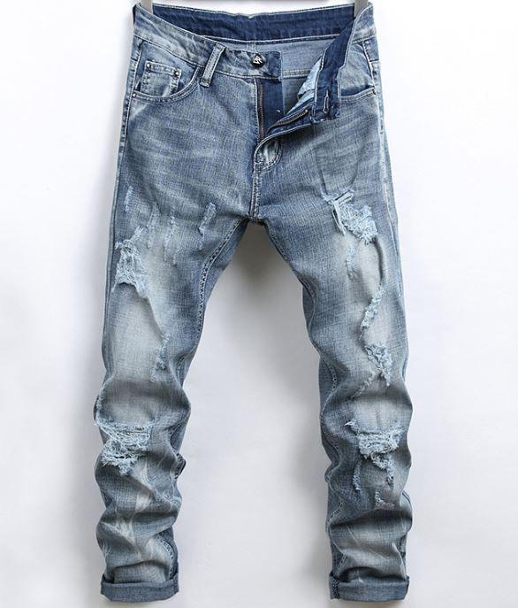 Mens Jeans Lápis Buraco Slim Fit Elastic à moda legal Homens primavera e no verão de Moda de Nova Calças Casual