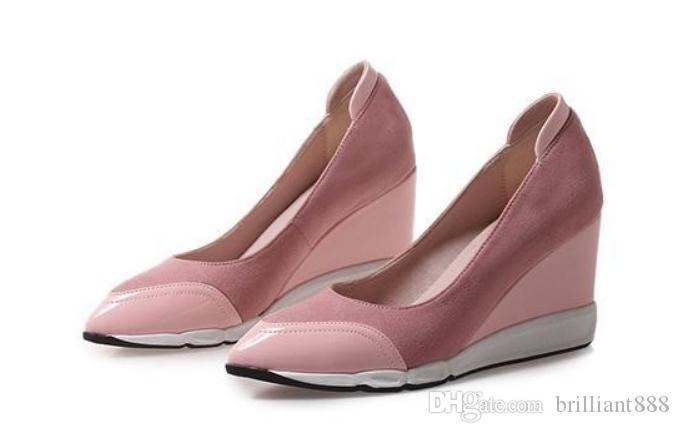 GGG236 @ 새로운 스타일의 기울기 발 뒤꿈치 끝이 뾰족하고 방수 테이블 봄과 가을에 2019 여성의 신발