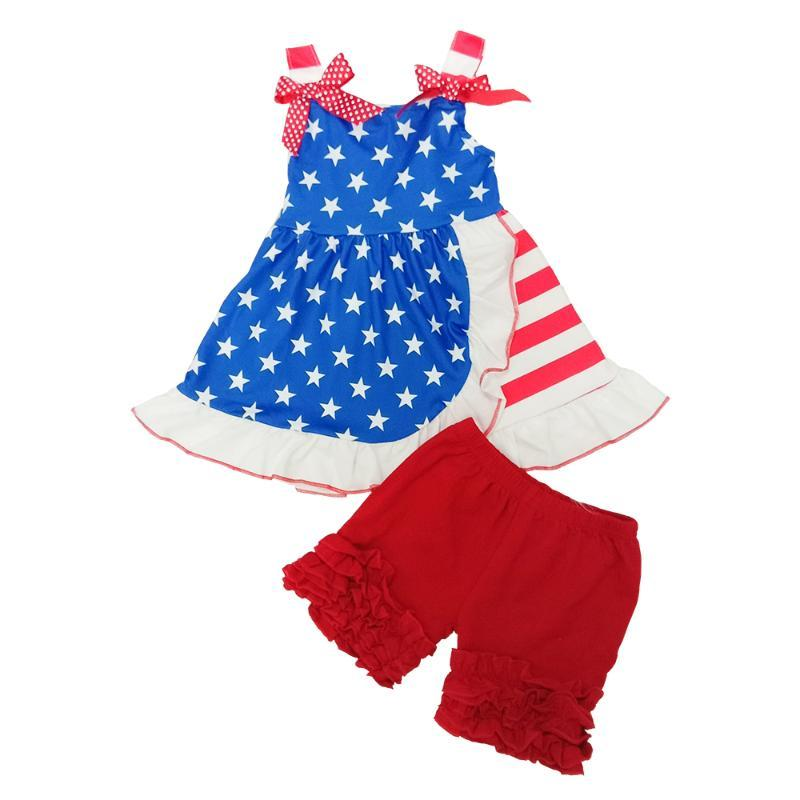 Girls Ready To Ship 4th of July Festival Flag 2PCS Casual Dresses Top Red Ruffles Shorts Fashion Outfits With Bow Kids Clothing