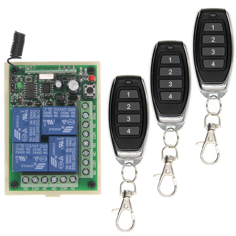 ذكية متعددة DC 12V 24V 10A 315/433 ميغاهيرتز 4CH 4 CH اللاسلكي ترحيل RF التحكم عن بعد التبديل استقبال + 1 2 3 4 الارسال T200605