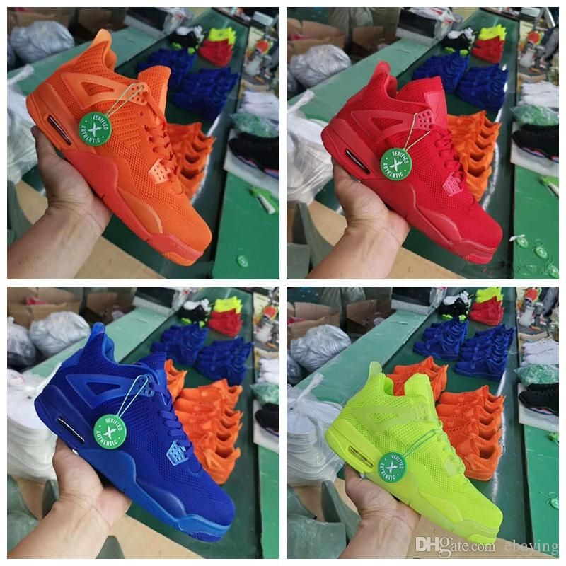 2019 New 4 IV 4s knit Mens Summer Basketball Shoes University Red Volt Hyper Royal Blue Total Orange Trainers Sports Sneakers Size 7-13