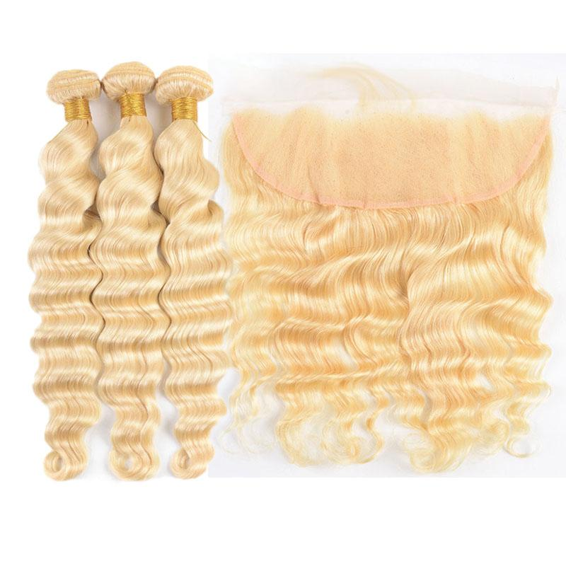Silanda Hair Pure Color #613 Loose Deep Wave Human Hair Weaves 3 Weaving Bundles With 13x4 Lace Closure Free Shipping