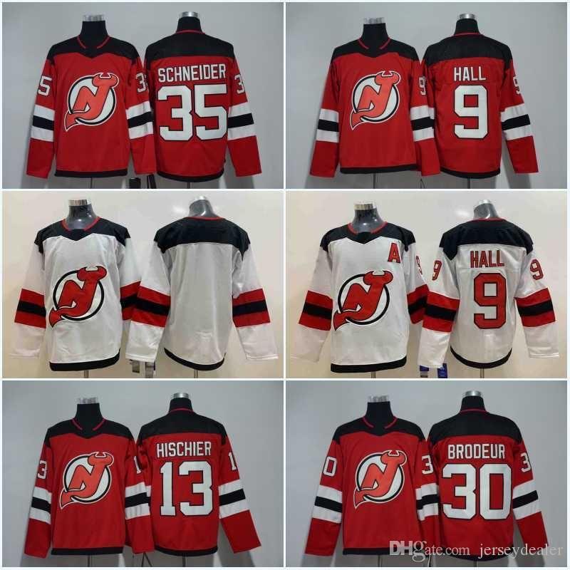 Erkekler 13 Nico Hischier Jersey 2018 New Jersey Devils 9 Taylor Hall 35 Cory Schneider 30 Martin Brodeur Hokeyi Formalar Ucuz