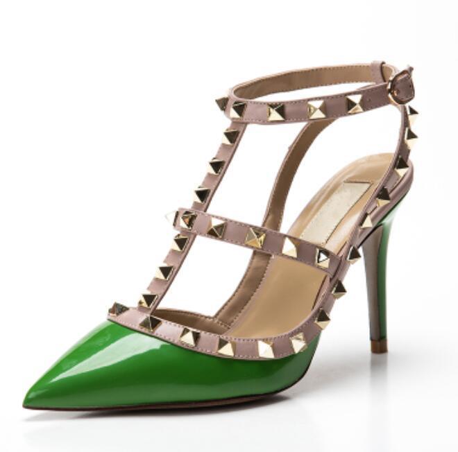 Горячие продажи-женщины v высокие каблуки партия моды заклепки девушки сексуальные остроконечные туфли танцевальная обувь свадебные туфли двойные ремни сандалии